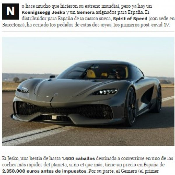 First Koenigsegg Jesko and Gemera sold in Spain